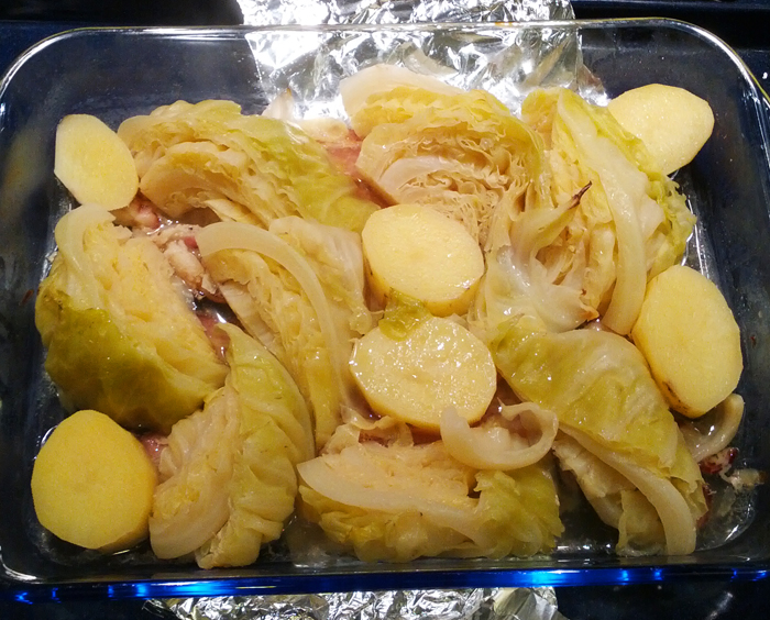 Braised cabbage, bacon, and potatoes!