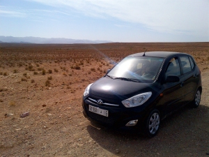 Our beaten up Hyundai - not bad for having just driven across Morocco!