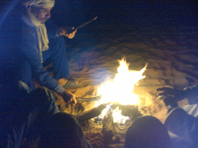 After dinner fire-side bonding with our Berber hosts