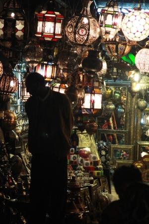 A shopkeeper hawks his wares at the main souk.